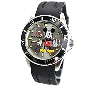 "Disney Unisex Watch Mickey Mouse ""Vintage"" With The Data Window. Soft Rubber Watch Band. Analog Large Display."