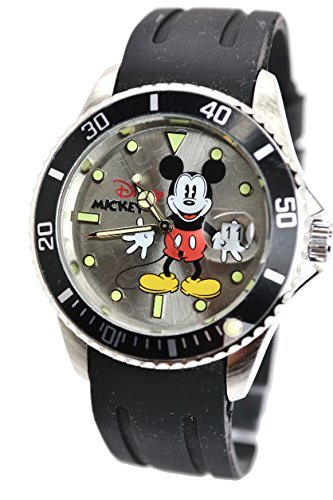 "Disney Unisex Watch Mickey Mouse ""Vintage"" With The Data Window. Soft Rubber Watch Band. Analog Large Display. 0"
