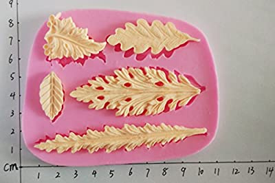 Wocuz W0710 Silicone 5 Long Shape Leaves Shape Fondant Mold Candy Making Mould Cake Embossing Decoration