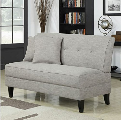 Contemporary Sofa Loveseat - This Upholstered Couch Is Made of Wood and Linen Material - Perfect Seat for Your Bedroom, Living Room - Free Toss Pillows - 1 Year Warranty! (Barley Tan Linen)