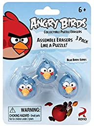 Angry Birds Blue Bird Collectible Puzzle Erasers,3 Pack