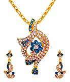 Sharnam Art Cute And Sober Blue And White Pendant With Matching Earrings