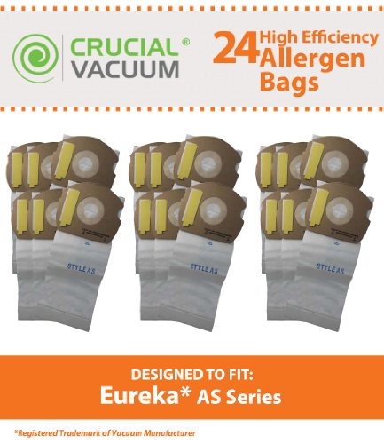 24 Eureka As Micro Allergen Vacuum Bags Designed To Fit Eureka As Series Upright Vacuums, Compare To Part # 66655, 68155-6, 68155, 67726, Designed & Engineered By Crucial Vacuum
