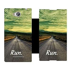 Skintice Premium Flip Cover with a Designer hi-res printed Vinyl Wrap-around forSony Xperia C C2305, Design - Run