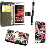 GSDSTYLEYOURMOBILE {TM} SONY XPERIA SP M35H PREMIUM QUALITY PU LEATHER MAGNETIC FLIP CASE SKIN COVER POUCH + STYLUS (Pink Flower Dark Grey Book Flip)