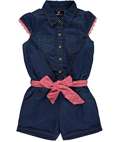Big Girls Gilded Buttons & Crocheted Trim Romper - dark blue, 10 - 12