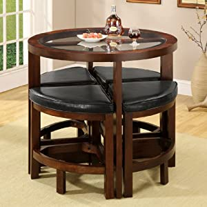 wood 5 pieces glass top dining table set by furniture of america