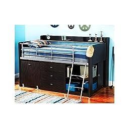 Twin Loft Bed w/Desk Kids Bedroom Furniture Set