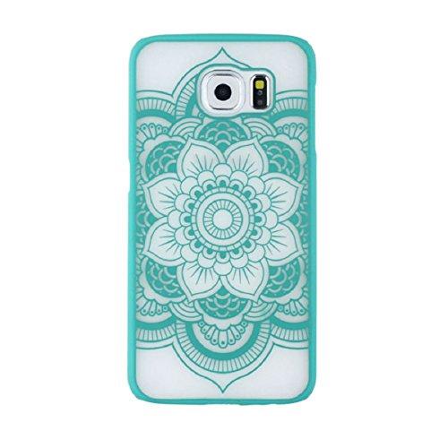 Doinshop Carved Cover Damask Vintage Mandala Flower Case for Samsung Galaxy S6 (green)