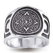 Mayan Calendar Sterling Silver Ring
