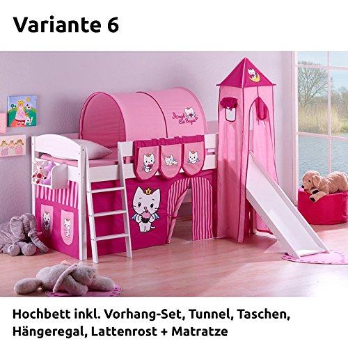 Hochbett Spielbett IDA Angel Cat Sugar, mit Turm, Rutsche und Vorhang, weiß, Variante 6 bestellen