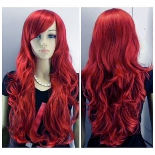 SEXY LONG WINE RED LADY FASHION LOOSE FULL WIG NEW FANCY DRESS by Accenter