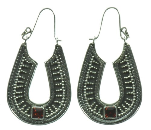 Silver Red Stone Good Luck Earring Jewelry of Bali