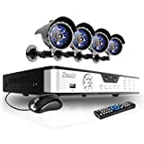 Zmodo 8CH Video DVR Security Surveillance Camera System with 4 CCTV IR Outdoor Surveillance Black Cameras - 500GB HD
