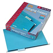 Hanging File Folders, 1/5 Tab, 11 Point Stock, Letter, Teal, 25/Box