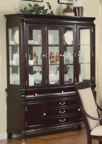 Cheap China Cabinet Buffet Hutch Silver Handles Merlot Cappuccino Finish (VF_101944)