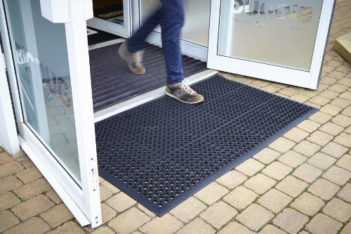 Outdoor Rubber Entrance Mat 0.9 x 1.5m Black