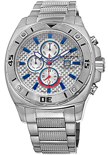 Akribos XXIV Men's AK652SS Grandiose Swiss Multifunction White Carbon Fiber Dial Silver-tone Stainless Steel Bracelet Watch (Carbon Fiber Dial Watch compare prices)
