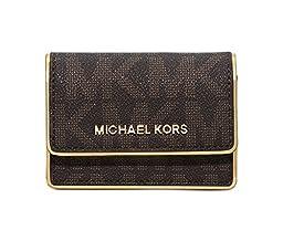 MICHAEL Michael Kors Womens Accordion Card Case (Brown Signature/Gold)