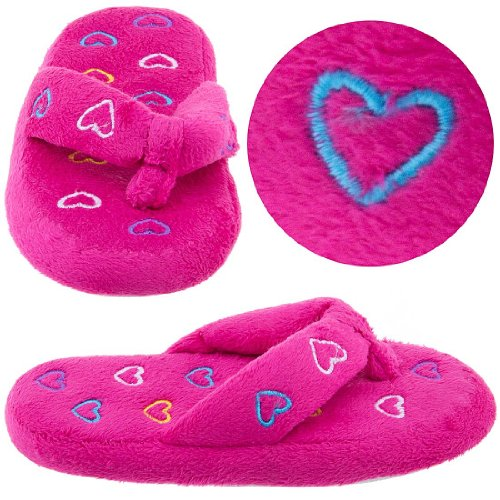 Cheap Hot Pink Heart Thong Style Slippers for Girls (B005Y4TG66)