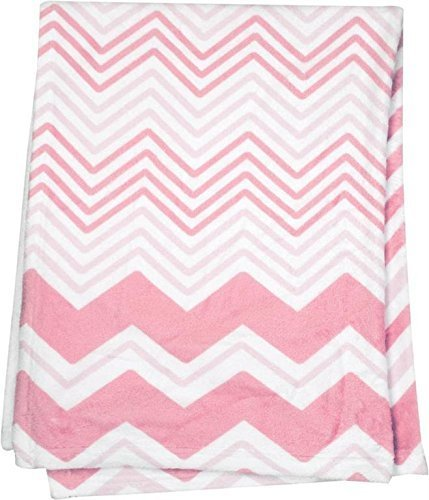 Shades of Pink and White Chevron Fleece Baby Blanket