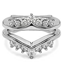 buy Chevron Style Ring Guard With Round Stones With 0.42 Cts Of Cz In Silver
