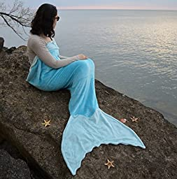 Mermaid Tail Blanket in 7 Colors CHILD & ADULT Size - Premium Quality Minky Fabric (Adult, Turquois & Aqua)