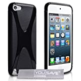 iPod Touch 5 5G Case Silicone X Line Cover Blackby Yousave Accessories