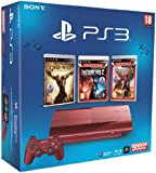 Console PS3 Ultra slim 500 Go rouge + God of War : Ascension + Infamous 2 - essentials + Uncharted 3 - essentials