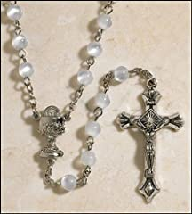 My Holy First Communion Rosary with Chalice Centerpiece and 6MM White Prayer Beads
