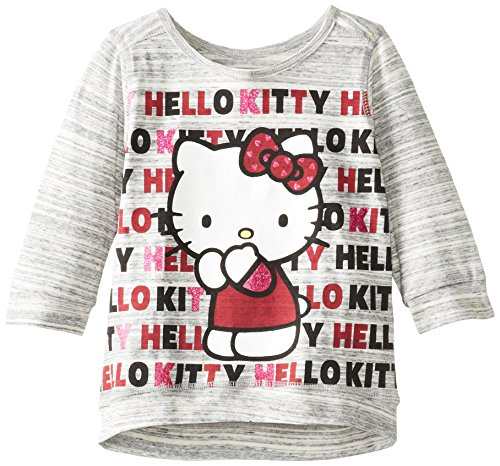 Hello Kitty Little Girls' Drawstring Screen Glitter Top, Heather Gray, 5 front-1000803
