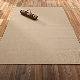 Ottomanson Jardin Collection Natural Solid Design Indoor/Outdoor Jute Backing Area Synthetic Sisal Rug, Cream, 5\'3\