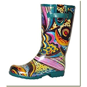 Storm well blue flowers wellington boots