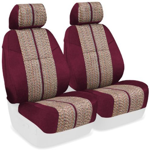 Coverking Custom Fit Front 50/50 Base Seat Cover For Select Mini Cooper Models - Saddleblanket (Wine With Neosupreme Wine Sides) front-161534