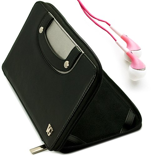 Black Vg Executive Leatherette Premium Book Style Protective Folio Case With Pu Leather Carrying Handles For Double Power D7015 / Md-740 / Md-702 / T-711 / T708 7-Inch Android Tablets + Pink Handsfree Hifi Noise Isolating Stereo Headphones With Windscreen