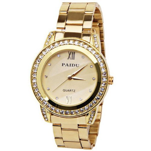 58923 Gold Stainless Steel Chronograph Look Watch With Crystals Gold Tone Metal Link