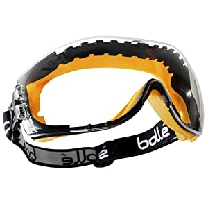 Bolle Safety Tactical Pilot Goggles Eye Protection Yellow Frame Clear Lens from Bolle Safety