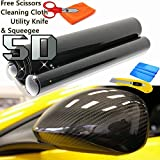 5D Premium HIGH GLOSS Black Carbon Fiber Vinyl Wrap Bubble Free Air Release + Free Cutter, Scissors & Squeegee for size over (5FTX5FT / 60