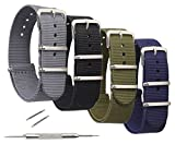 STYLELOVER 4 Pack Nato Watch Bands, Ballistic Nylon Watch Straps - Choices of Colors & Widths 16mm 18mm 20mm 22mm or 24mm