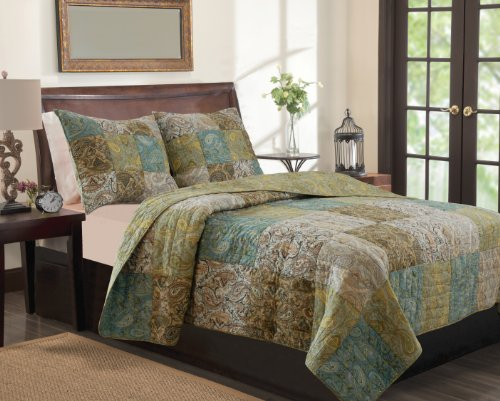 Greenland Home 3-Piece Vintage Paisley Quilt Set, Full/Queen front-8990