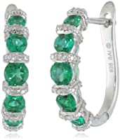 Sterling Silver Created Emerald and Diamond-Accented Hoop Earrings from Amazon Curated Collection