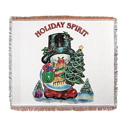 Woven Blanket Christmas Spirit Snowman with Tree (Decorative Deck Fringe)