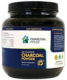 DETOX 1600 USP - Super Fine Coconut Shell Activated Charcoal Powder -25oz - 2 qt GLASS jar