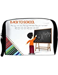 Snoogg Cute Boy Standing In Front Of Blackboard Travel Buddy Toiletry Bag / Bag Organizer / Vanity Pouch
