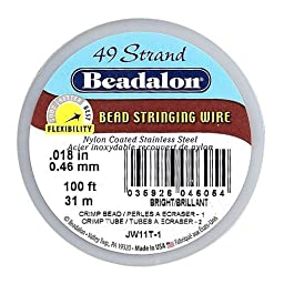 Beadalon 49-Strand Bead Stringing Wire, 0.018-Inch, Bright, 100-Feet