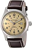 "Hamilton Men's H70555523 ""Khaki Field"" Stainless Steel Watch with Brown Leather Band"