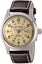 """Hamilton Men's H70555523 """"Khaki Field"""" Stainless Steel Watch with Brown Leather Band"""