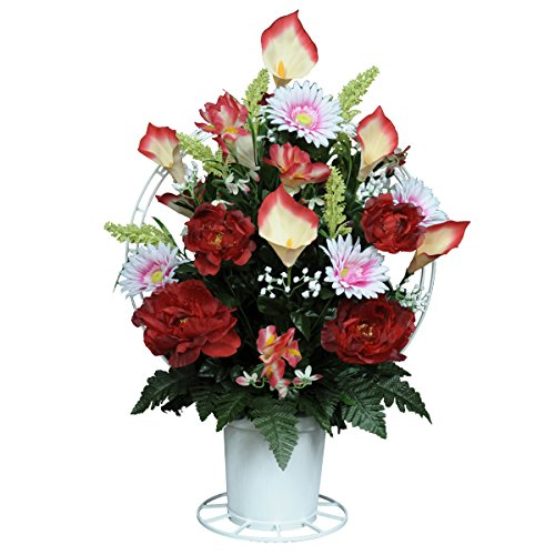 Red Peonies with Calla Lilies and Daisies Silk Flower Basket by Sympathy Silks® (BA1563) (Funeral Flowers With Basket Stand compare prices)