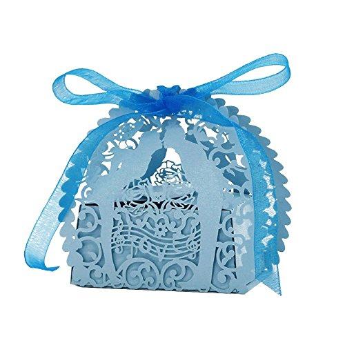 Lot de 20 Boîte de Bonbons Bonbonnière en Papier Boîte Cadeau pour Fête de Mariage - Bleu