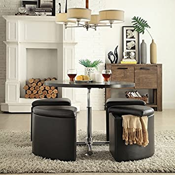 Bingley Creek 5 pc Cocktail Set Space Saver Bar Table and 4 Stool Chairs Storage Ottomans